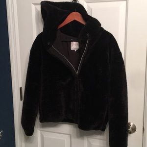 Zara faux fur black jacket